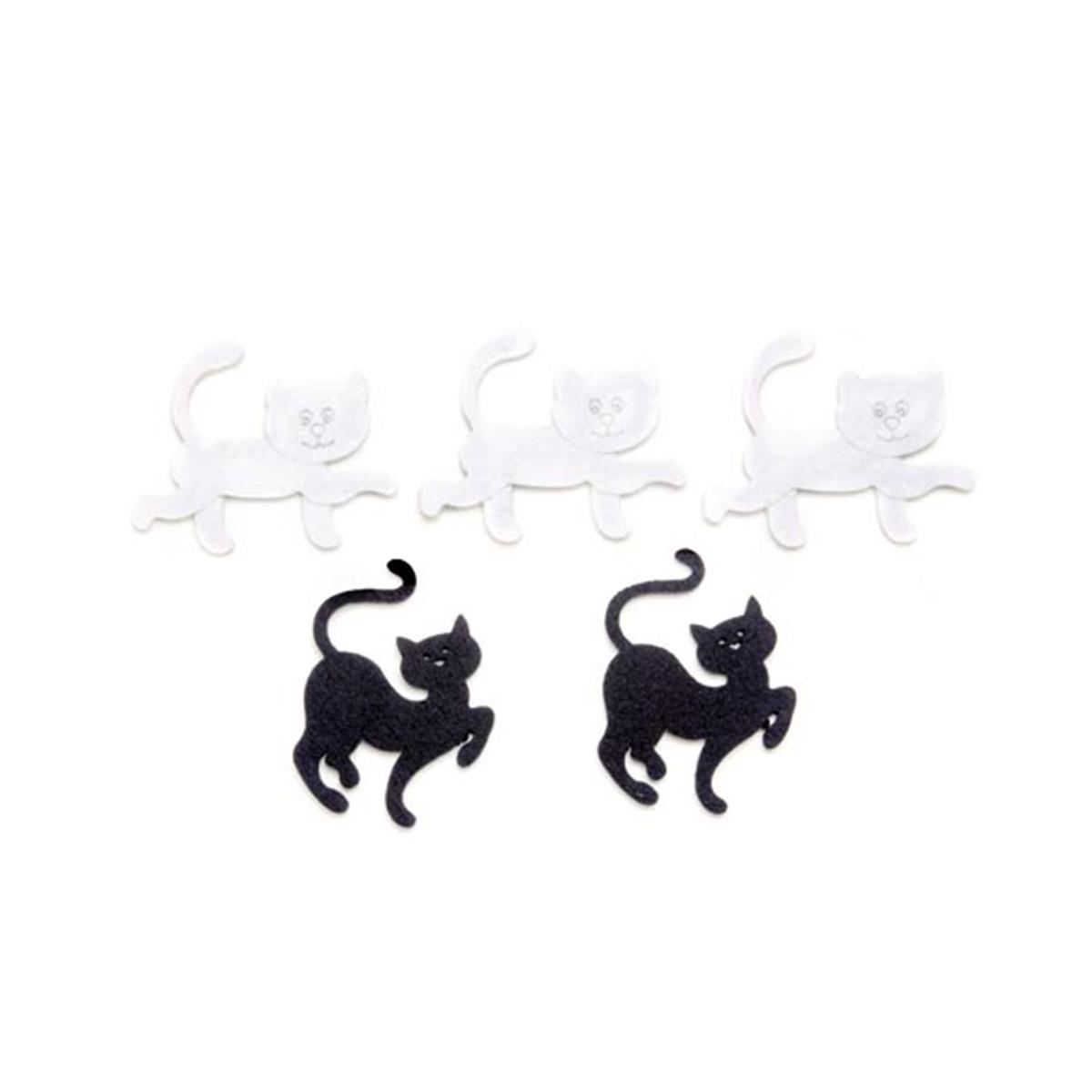 Фигурки из фетра Glorex Кошки, цвет: белый, черный, 5,5 см, 5 шт318677