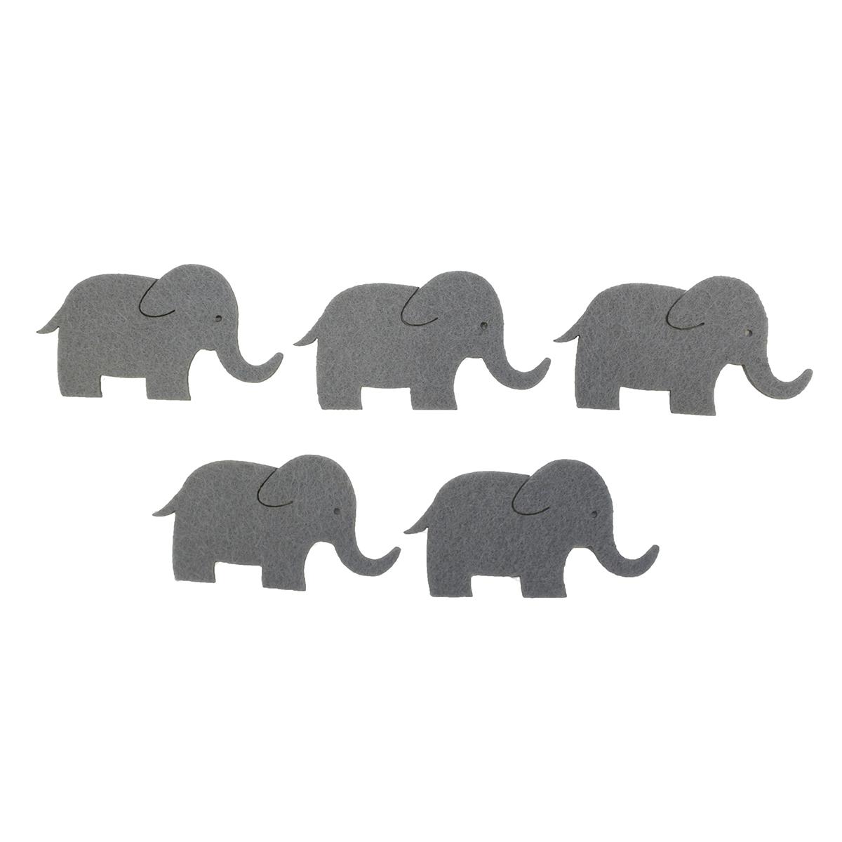 Фигурки из фетра Glorex Слоны, цвет: серый, 6 см, 5 шт318678