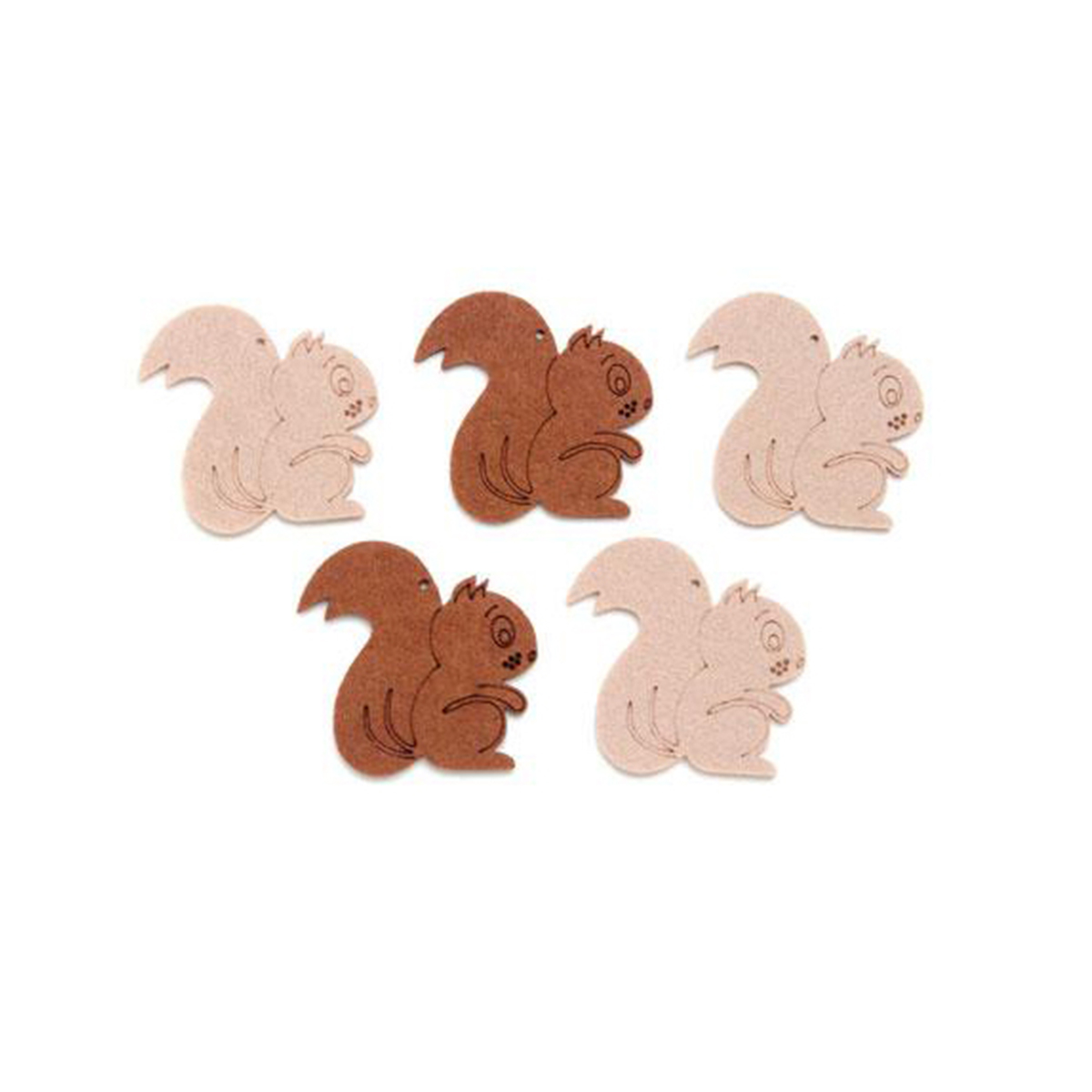 Фигурки из фетра Glorex Белки, цвет: бежевый, коричневый, 5 см, 5 шт318679