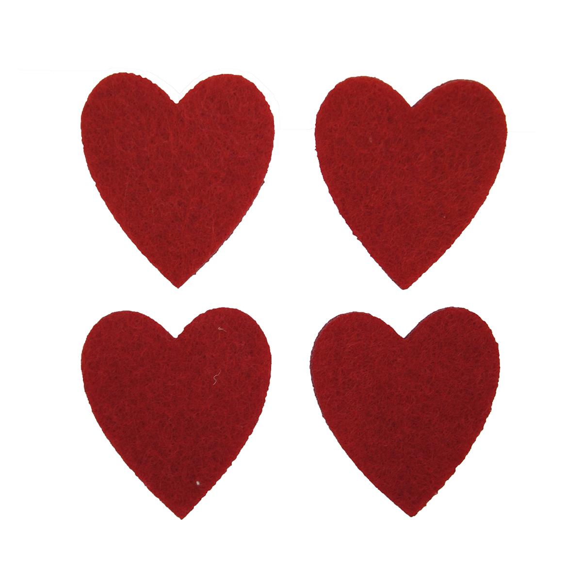 Фигурки из фетра Glorex Сердечки, цвет: красный, 4 x 3,6 см, 12 шт318783Фетр пользуется большой популярностью среди рукодельниц. Его любят за эстетичный вид, практичность и отличную текстуру. Из данного материала вашему вниманию предлагаются заготовки Glorex. Широкое разнообразие цветов и форм поможет реализовать творческие задумки и гармоничным образом дополнить ваше творение. Из фетра можно создавать обложки для книг, ежедневников, игрушки, декоративные чехлы для подушек и многое, многое другое.