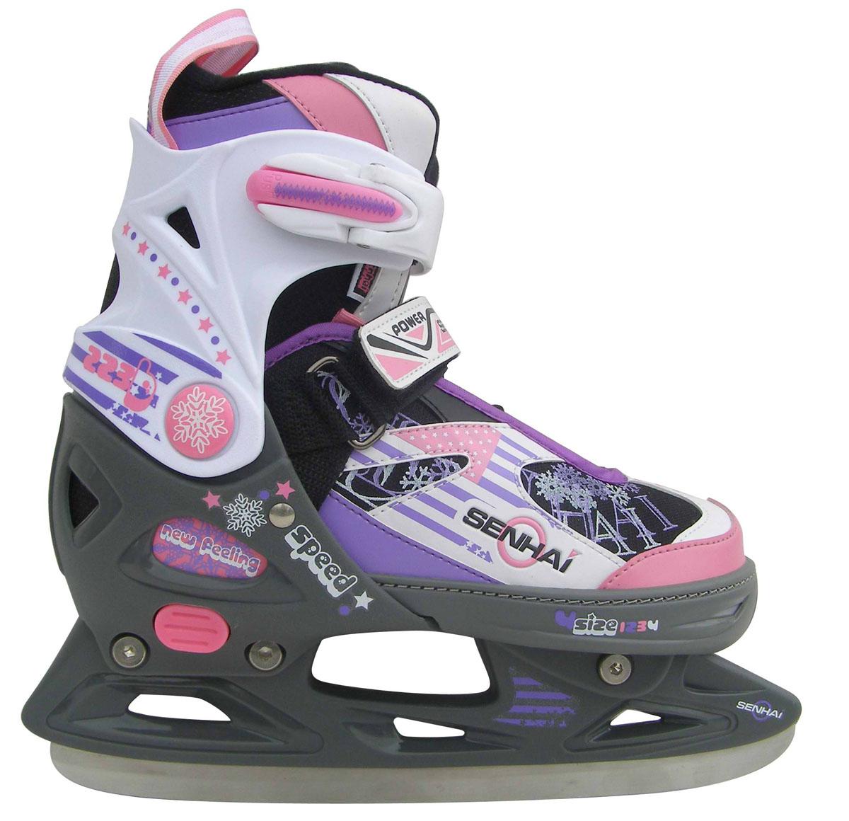 Коньки ледовые детские Action, раздвижные, цвет: фиолетовый, розовый, белый. PW-226. Размер 29/32