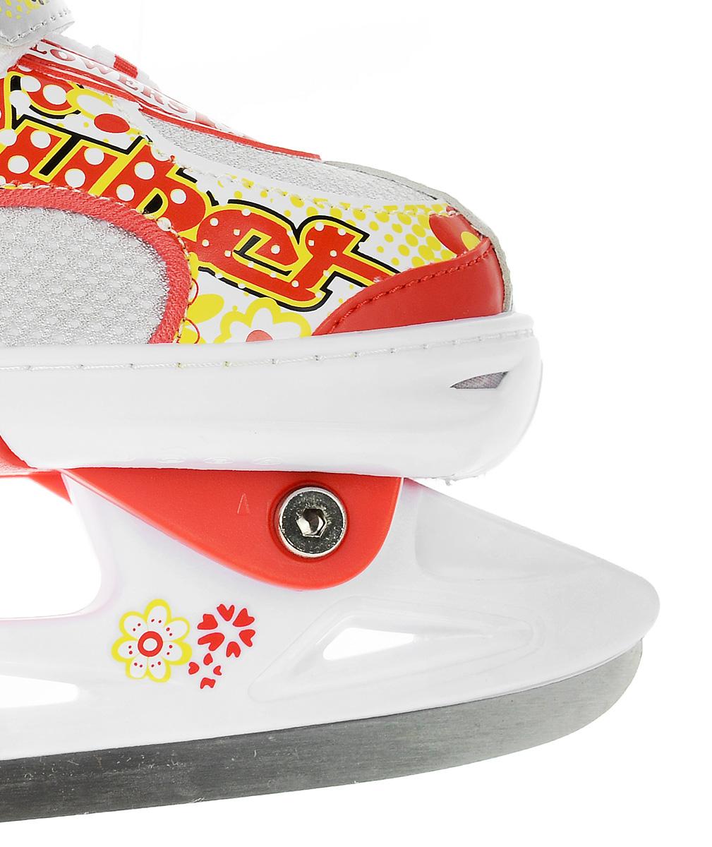 Коньки ледовые для девочки Action Sporting Goods, раздвижные, цвет:  белый, красный.  PW-113.  Размер 29/32 Action