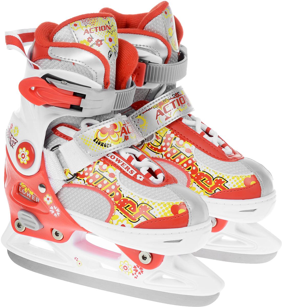 Коньки ледовые для девочки Action Sporting Goods, раздвижные, цвет: белый, красный. PW-113. Размер 29/32