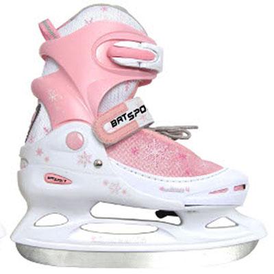 Коньки ледовые женские Action, раздвижные, цвет: белый, розовый. PW-211F. Размер 38/41