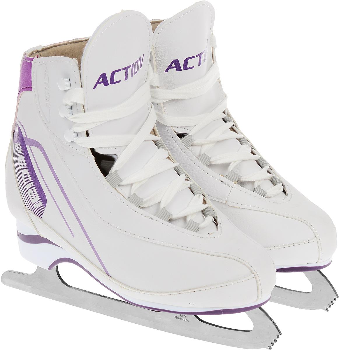 Коньки фигурные женские Action Sporting Goods, цвет: белый, фиолетовый. PW-221. Размер 40 коньки ледовые женские action sporting goods раздвижные цвет белый красный pw 113 размер 37 40