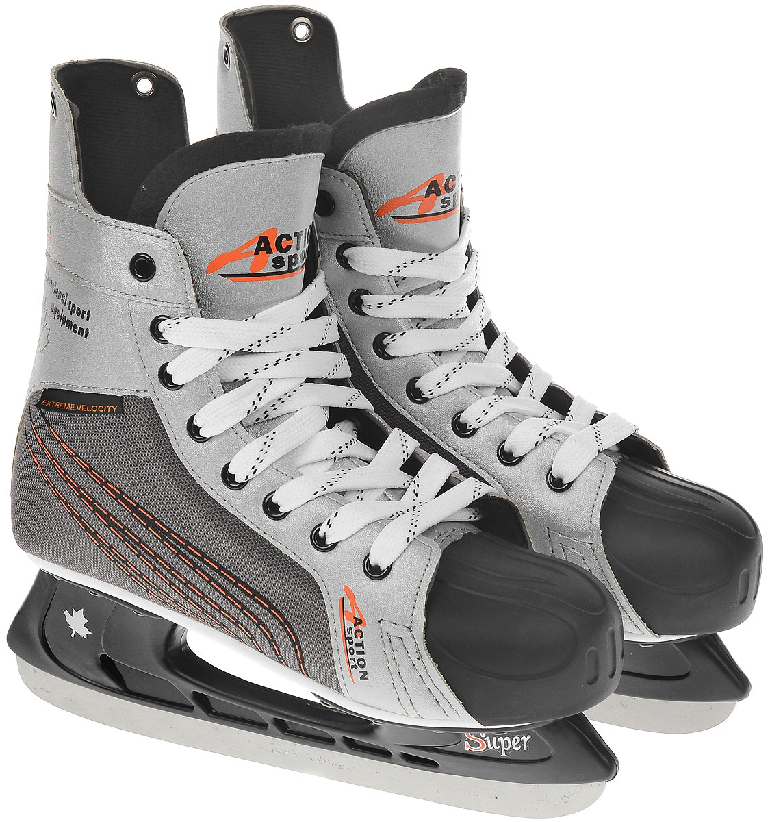 Коньки хоккейные мужские Action, цвет: белый, серый. PW-216N. Размер 42