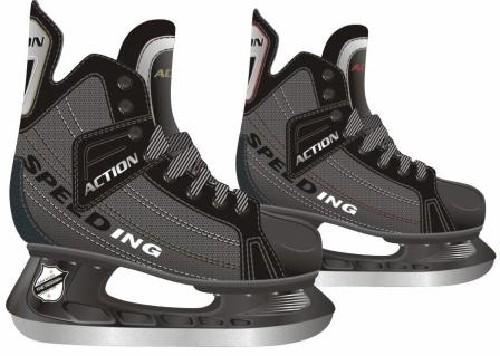 Коньки хоккейные Action, цвет: серый. PW-216DN. Размер 46