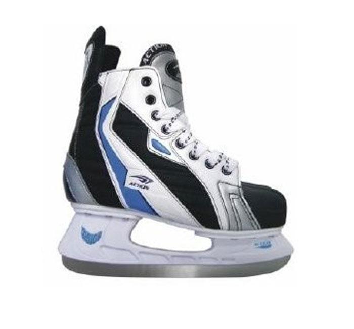 Коньки хоккейные Action, цвет: черный. PW-216AE. Размер 40 коньки хоккейные для мальчика ice blade wicked цвет серый черный размер 34
