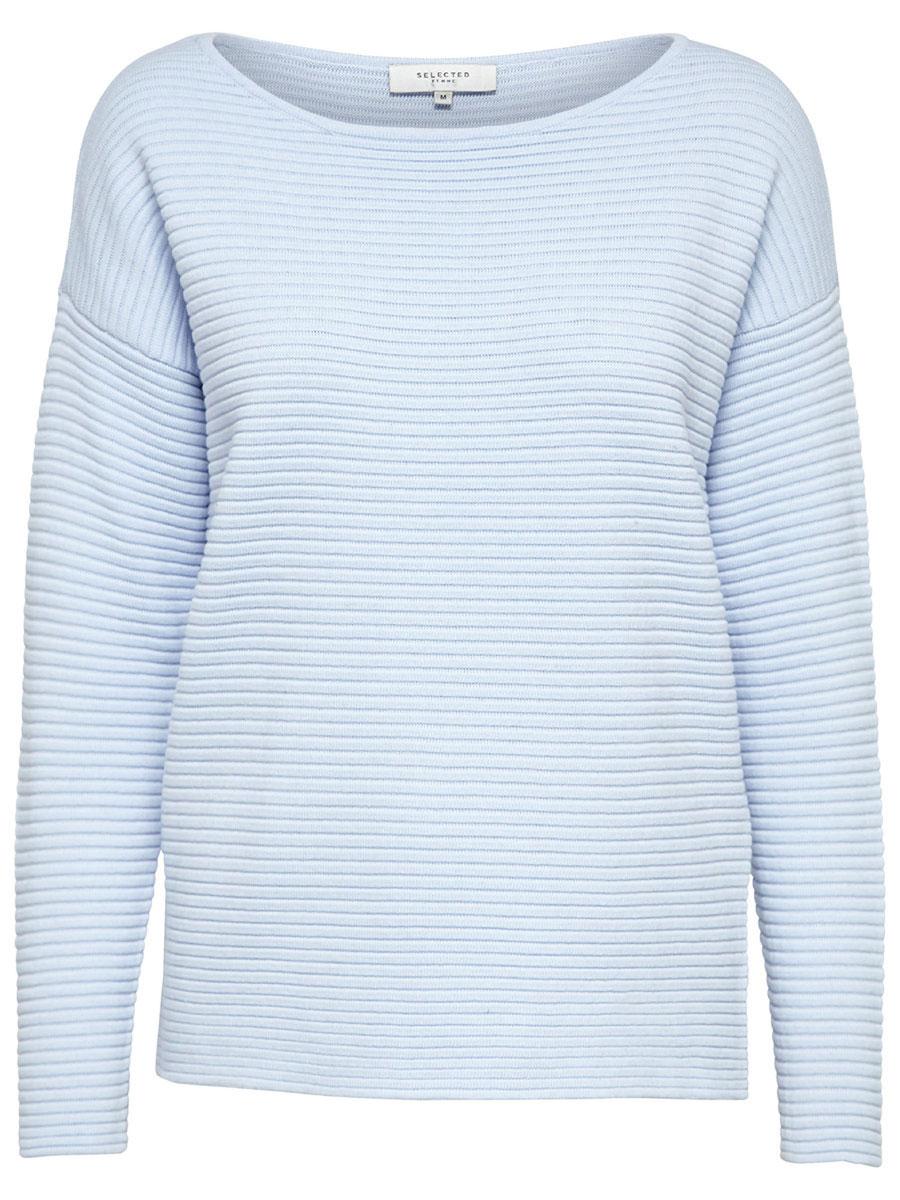 Джемпер женский Selected Femme, цвет: голубой. 16055336. Размер XS (40) рубашка женская selected femme цвет молочный 16052017 размер 40 46