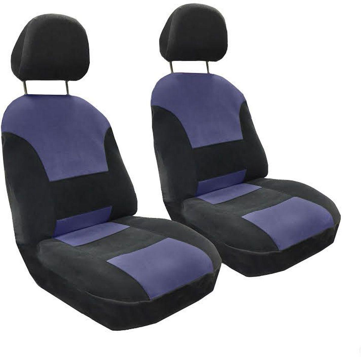 Набор автомобильных чехлов Auto Premium Флагман, цвет: черный, синий, 4 предмета57102Комплект универсальных чехлов Auto Premium Флагман выполнен из велюра, предназначен для передних кресел автомобиля. На задней спинке чехла расположен вшивной карман. В комплект входят съемные чехлы для подголовников. Практичный и долговечный комплект чехлов для передних сидений надежно защищает сиденье водителя и пассажира от механических повреждений, загрязнений и износа.