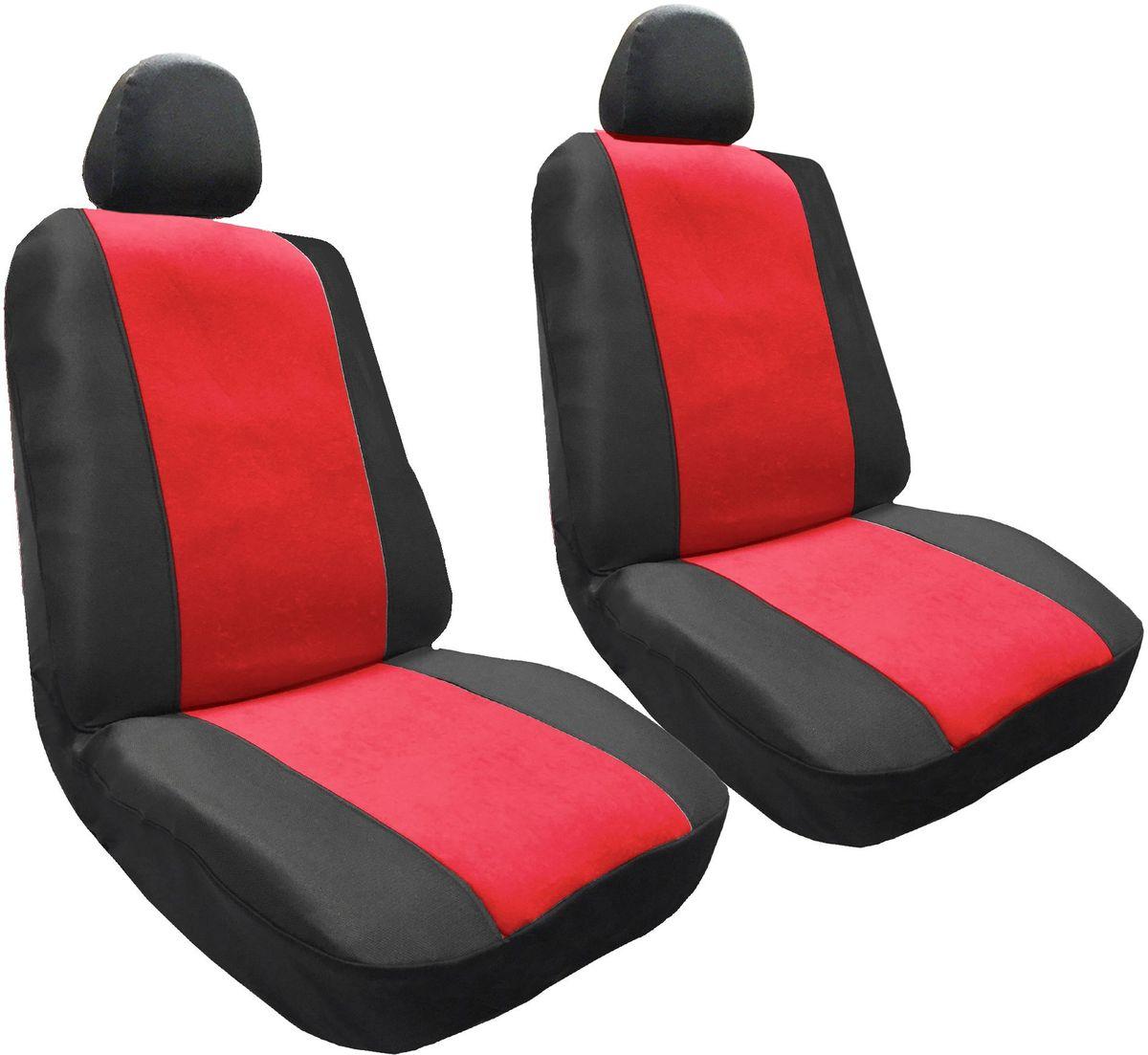 Набор автомобильных чехлов Auto Premium Корвет, цвет: черный, красный, 4 предмета57303Комплект универсальных чехлов Auto Premium Корвет выполнен из велюра. Предназначен для передних кресел автомобиля. В комплект входят съемные чехлы для подголовников. Практичный и долговечный комплект чехлов для передних сидений надежно защищает сиденье водителя и пассажира от механических повреждений, загрязнений и износа.