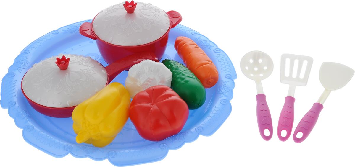 Нордпласт Игрушечный набор овощей и кухонной посуды Волшебная хозяюшка цены