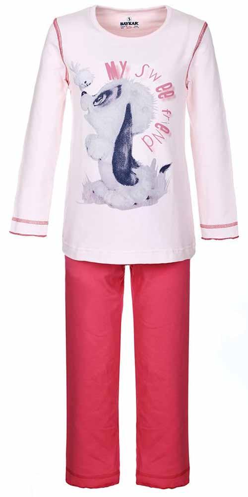 Пижама для девочки Baykar, цвет: розовый. N9002248. Размер 104/110N9002248Мягкая пижама для девочки Baykar, состоящая из футболки с длинным рукавом и брюк выполнена из хлопка с добавлением эластана. Футболка с круглым вырезом горловины и длинными рукавами. Брюки на талии имеют мягкую резинку, благодаря чему они не сдавливают животик ребенка и не сползают. Изделие оформлено интересным принтом и надписями.