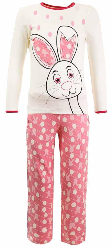 Пижама для девочки Baykar, цвет: розовый, белый. N9011124. Размер 110/116N9011124Мягкая пижама для девочки Baykar, состоящая из футболки с длинным рукавом и брюк выполнена из хлопка с добавлением эластана. Футболка с круглым вырезом горловины и длинными рукавами.Брюки на талии имеют мягкую резинку, благодаря чему они не сдавливают животик ребенка и не сползают. По бокам брюки дополнены втачными карманами. Изделие оформлено интересным принтом.