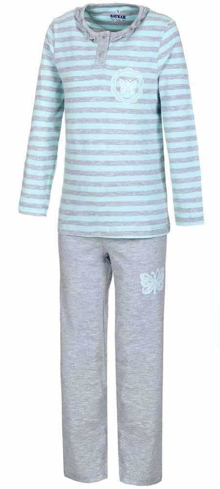 Пижама для девочки Baykar, цвет: мятный, серый. N9019165. Размер 128/134N9019165Мягкая пижама для девочки Baykar, состоящая из футболки с длинным рукавом и брюк выполнена из хлопка с добавлением эластана. Футболка с круглым вырезом горловины и длинными рукавами спереди застегивается на пуговицы.Брюки на талии имеют мягкую резинку, благодаря чему они не сдавливают животик ребенка и не сползают. Футболка оформлена принтом в полоску, брюки и футболка декорированы термоаппликацией в виде бабочки.