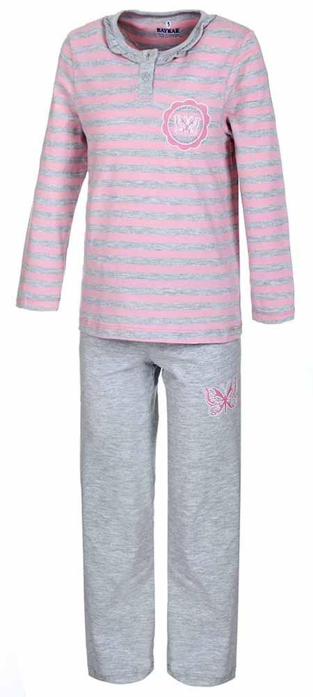 Пижама для девочки Baykar, цвет: розовый, серый. N9019191. Размер 104/110N9019191Мягкая пижама для девочки Baykar, состоящая из футболки с длинным рукавом и брюк выполнена из хлопка с добавлением эластана. Футболка с круглым вырезом горловины и длинными рукавами спереди застегивается на пуговицы.Брюки на талии имеют мягкую резинку, благодаря чему они не сдавливают животик ребенка и не сползают. Футболка оформлена принтом в полоску, брюки и футболка декорированы термоаппликацией в виде бабочки.
