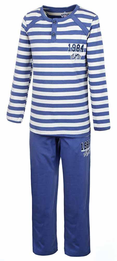 Пижама для мальчика Baykar, цвет: синий, кремовый. N9050138. Размер 122/128N9050138Пижама Baykar выполнена из хлопка с добавлением эластана, комфортных при движении. Кофта с круглым вырезом оформлена притом в полоску и аппликацией. Модель с длинным рукавом застегивается с помощью пуговиц на горловине. Штаны оформлены аппликацией, дополнены втачными карманами и эластичной резинкой на талии.