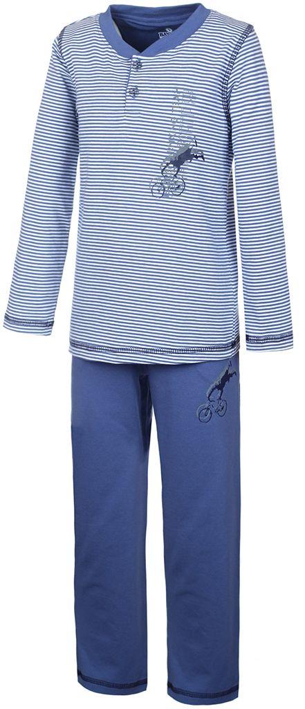 Пижама для мальчика Baykar, цвет: синий, белый. N9051160. Размер 116/122N9051160Пижама для мальчика Baykar включает в себя футболку с длинным рукавом и брюки. Пижама изготовлена из эластичного хлопка.Футболка с длинными рукавами и круглым вырезом горловины застегивается на 2 пуговицы на груди. Модель оформлена принтом в полоску и дополнена изображением велосипедиста.Свободные брюки с широкой эластичной резинкой на поясе дополнены двумя втачными карманами и имеют комфортные эластичные швы. Изделие украшено небольшим принтом с изображением велосипедиста, исполняющего трюк.