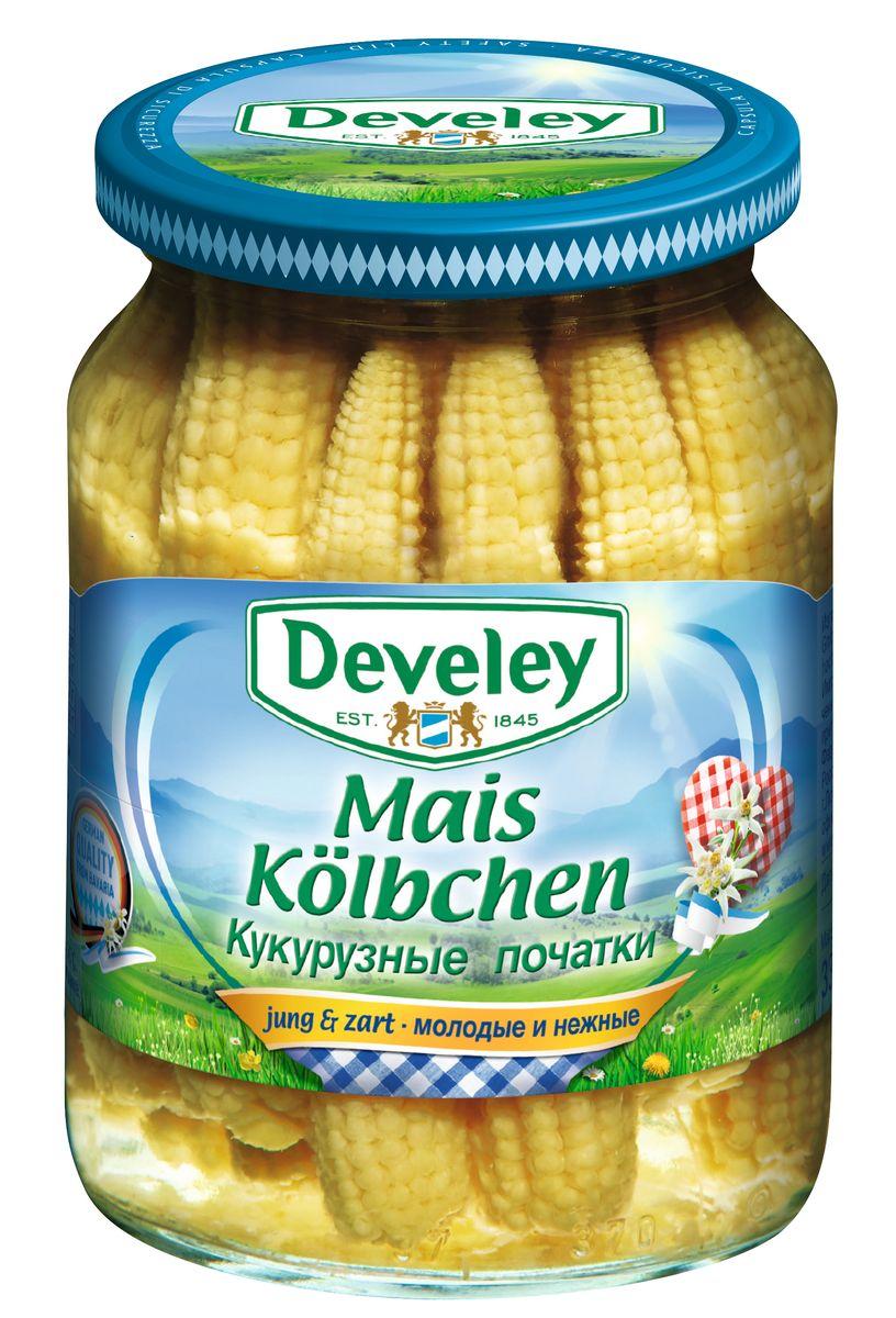 Develey кукурузные початки, 370 мл7230Овощи Develey выращены и произведены по собственной технологии и рецептуре.