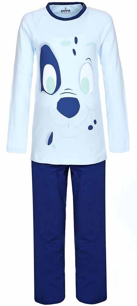 Пижама для мальчика Baykar, цвет: темно-синий, голубой. N9095207. Размер 104/110N9095207Мягкая пижама для мальчика Baykar, состоящая из футболки с длинным рукавом и брюк выполнена из хлопка с добавлением эластана. Футболка с круглым вырезом горловины и длинными рукавами.Брюки на талии имеют мягкую резинку, благодаря чему они не сдавливают животик ребенка и не сползают. Брюки по бокам дополнены втачными кармашками. Изделие оформлено принтом с изображением мордочки щенка.