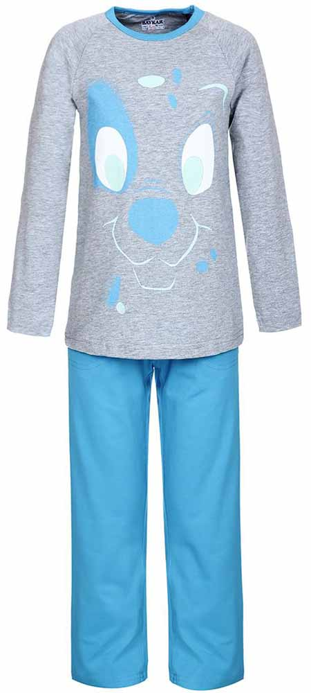 Пижама для мальчика Baykar, цвет: серый, голубой. N9095220. Размер 116/122N9095220Мягкая пижама для мальчика Baykar, состоящая из футболки с длинным рукавом и брюк выполнена из хлопка с добавлением эластана. Футболка с круглым вырезом горловины и длинными рукавами.Брюки на талии имеют мягкую резинку, благодаря чему они не сдавливают животик ребенка и не сползают. Брюки по бокам дополнены втачными кармашками. Изделие оформлено принтом с изображением мордочки щенка.