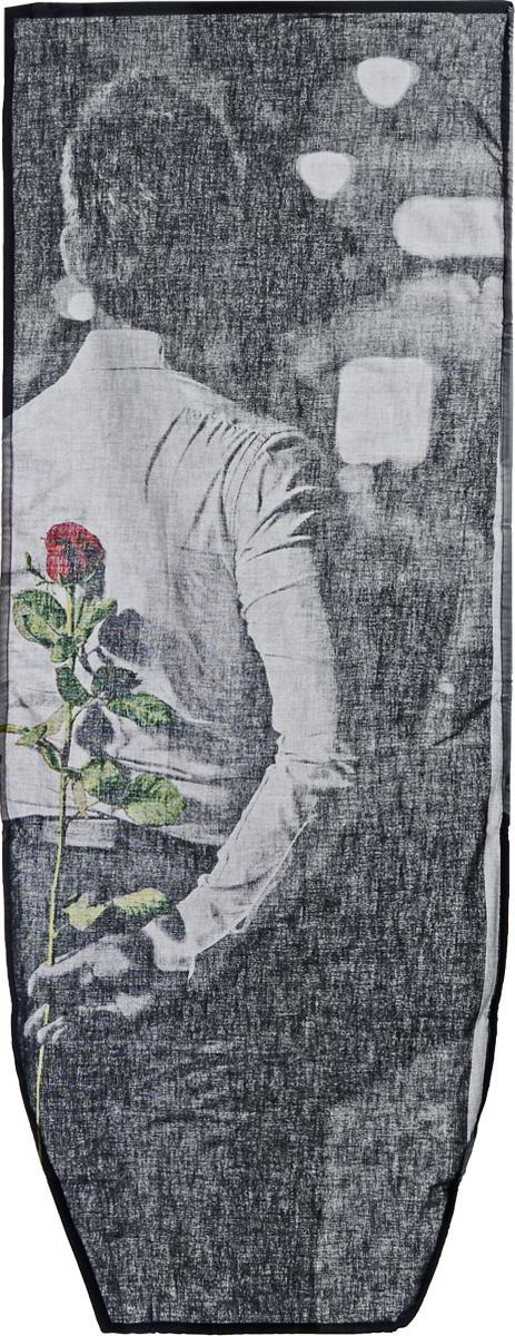 """Чехол для гладильной доски Nika """"Мужчина с розой"""", универсальный, 129 х 51 см"""