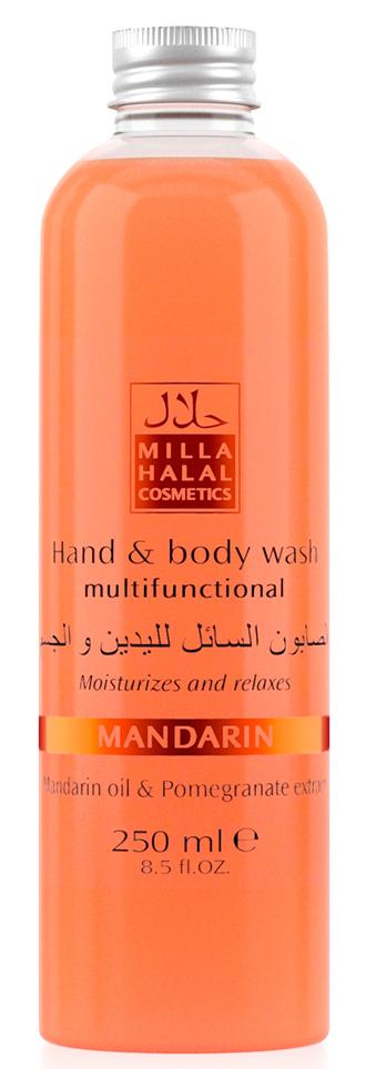Milla Halal Cosmetics Жидкое мыло для рук и тела с маслом мандарина и экстрактом граната MILLA MANDARIN, 250МЛ10775100% натуральный продукт. Создан для бережного ухода за кожей тела при принятии душа или ванны или ежедневном мытье рук. Прекрасно очищает и обладает антибактериальными свойствами. Насыщен натуральными маслами и экстрактами. Имеет приятный аромат.