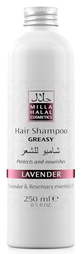 Milla Halal Cosmetics Шампунь для жирных волос с маслами лаванды и розмарина MILLA LAVANDER, 250МЛ10971100% натуральный продукт. Шампунь для жирных волос, благодаря входящему в его состав масла листьев Розмарина, которое имеет мощный лечебный эффект, используется для укрепления ослабленных волос. В процессе использования масла листьев розмарина происходит стимуляция роста волос, укрепляются волосяные луковицы, одновременно увлажняется и насыщается витаминами кожа головы, что способствует дезинфекции и устранению перхоти. Розмарин также препятствует выпадению волос и появлению седины.