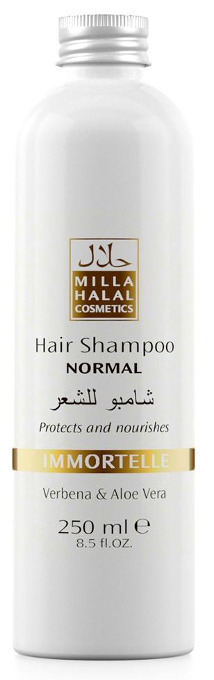 Milla Halal Cosmetics Шампунь для нормальных волос с экстрактами вербены и алоэ вера MILLA IMMORTELLE, 250МЛ10977100% натуральный продукт. Шампунь быстро и эффективно очищает волосы, стимулирует их рост. Входящий в состав шампуня экстракт листьев и цветов Вербены лекарственной, способствует заживлению ранок кожи головы. Экстракт листьев Алоэ Вера способствует быстрой регенерации клеток кожи.