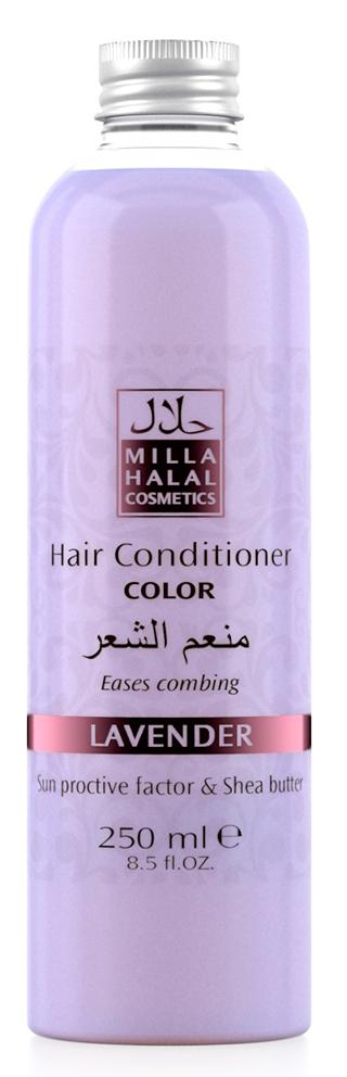 Milla Halal Cosmetics Кондиционер для окрашенных волос с маслом ши (карите) и защитным УФ-фактором MILLA L AVANDER, 250МЛ10983100% натуральный продукт. Кондиционер для окрашенных волос с маслом Ши (Карите) и эфирным маслом Лаванды узколистной (Английской) превосходно питает и защищает тон окрашенных волос. Солнцезащитный компонент, присутствующий в масле ши, защищает волосы от негативного воздействия окружающей среды. Кондиционер не утяжеляет волосы и значительно облегчает их расчесывание.