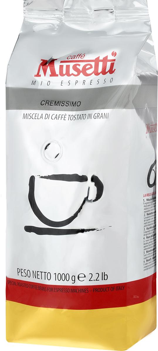 Musetti Cremissimo кофе в зернах, 1 кг8004769200901Кофе в зернах Musetti Cremissimo - натуральный жареный кофе.Исключительные вкусовые и ароматические свойства арабики, обогащенные плотностью и кремообразностью африканской робусты, делают эту смесь идеальной для приготовления изысканного итальянского эспрессо, плотного, с шоколадным послевкусием.