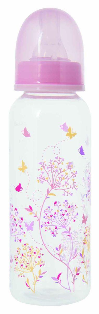 Мир Детства Бутылочка для кормления с силиконовой соской ортодонтической формы Травы 250 мл цвет розовый