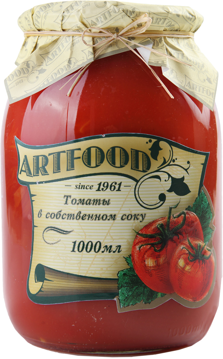 Artfood томаты в собственном соку, 1000 мл23001110200019Томаты в собственном соку пользуются большой популярностью по всему миру.Их можно использовать, как самостоятельное блюдо. Томаты в собственном соку добавляют в первые и мясные блюда, запеканки и выпечку.