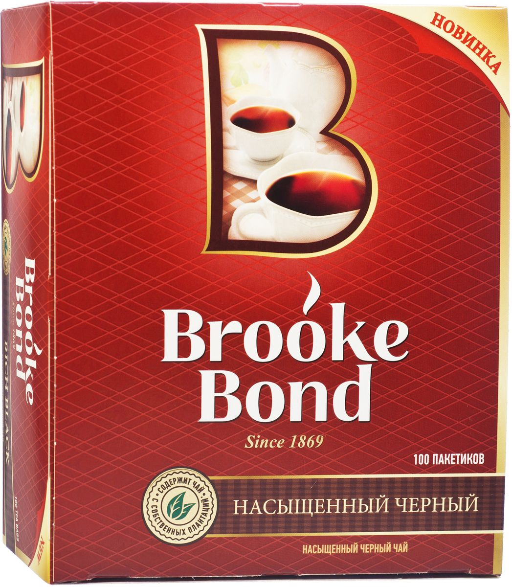 Brooke Bond Насыщенный черный чай в пакетиках, 100 шт21153965/65415506