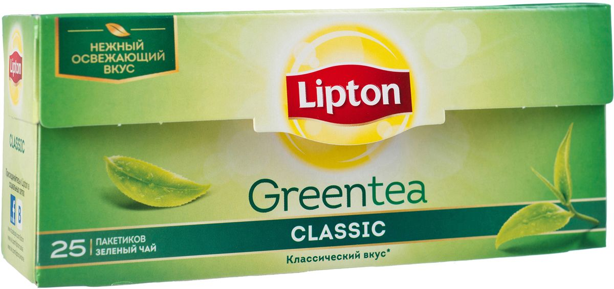 Lipton Зеленый чай Classic 25 шт21075237Нежный и освежающий вкус классического зеленого чая Lipton Green Classic наполняет уравновешенностью и проясняет взгляд на окружающий мир. Молодые чайные листочки, выращенные под теплыми лучами солнца, дарят зеленому чаю Lipton нежный вкус и легкий изысканный аромат, чтобы вы могли насладиться любимым чаем.