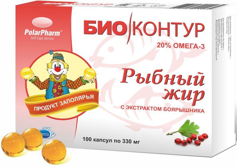Рыбный жир БиоКонтур, с экстрактом боярышника, в капсулах по 330 мг, № 100