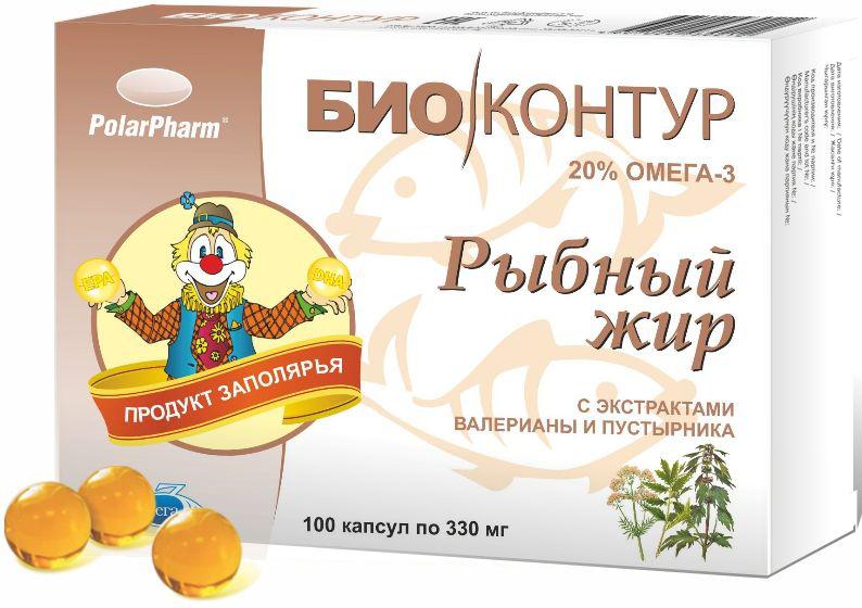 Рыбный жир БиоКонтур, с экстрактами валерианы и пустырника, в капсулах по 330 мг, № 100