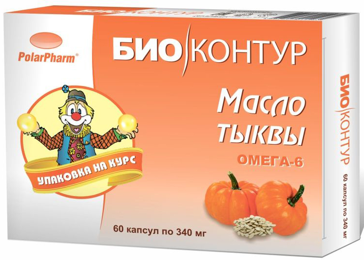 """Масло тыквенное """"БиоКонтур"""", в капсулах 340 мг, №60"""