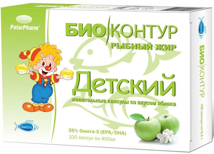 Детский рыбный жир БиоКонтур, со вкусом яблока, мягкие жевательные капсулы 400 мг, №1004607097012181Детский рыбный жир БиоКонтур со вкусом яблока, мягкие жевательные капсулы, 400 мг №100 способствует укреплению иммунитета, способствует восстановлению организма после перенесенных заболеваний, способствует быстрому восстановлению организма после умственных и физических нагрузокСостав: жир океанических рыб, оболочка (глицерин (пластификатор), желатин, крахмал, вода, ароматизатор натуральный Яблоко, краситель натуральный Хлорофилл), ароматизатор натуральный Яблоко, антиокислители (смесь токоферолов, аскорбил пальмитат).Товар не является лекарственным средством.Могут быть противопоказания и следует предварительно проконсультироваться со специалистом.