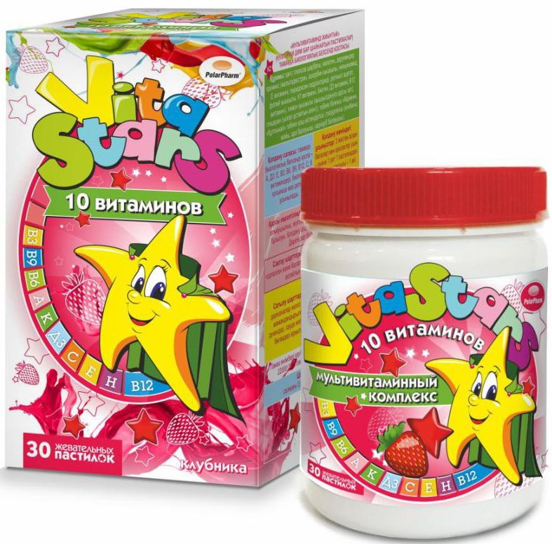 Мультивитаминный комплекс VitaStars, 10 витаминов, со вкусом клубники, 30 жевательных пастилок4607097012655Мультивитаминный комплекс VitaStars способствует поддержанию иммунитета, для роста детей, главный источникздоровья кожи, необходим для роста волос и ногтей. Товар не является лекарственным средством. Могут быть противопоказания и следует предварительнопроконсультироваться со специалистом.Рекомендации по применению: взрослым и детям старше 3-х лет по 1 пастилке 1раз в день. Продолжительность приема – 1 месяц. Возможны повторные приемы втечение года.