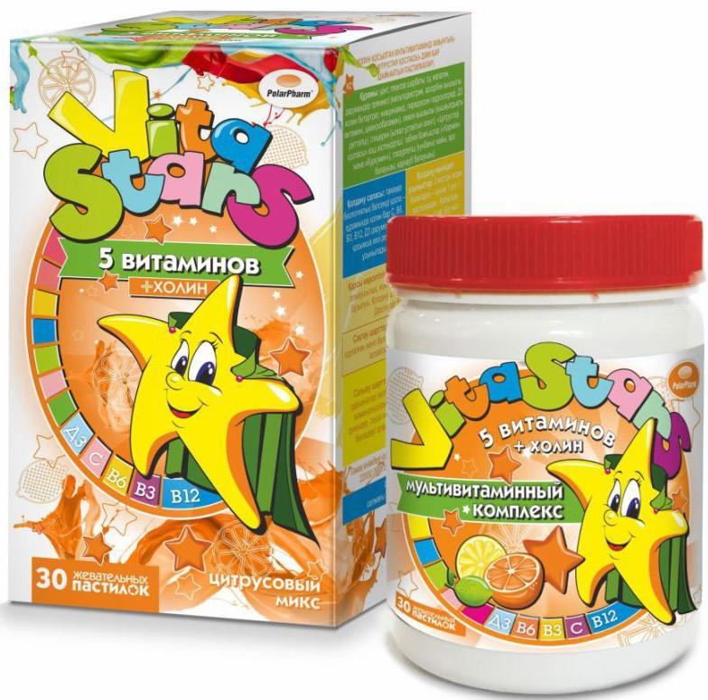 """Мультивитаминный комплекс """"VitaStars"""", 5 витаминов, с холином, цитрусовый микс, 30 жевательных пастилок"""