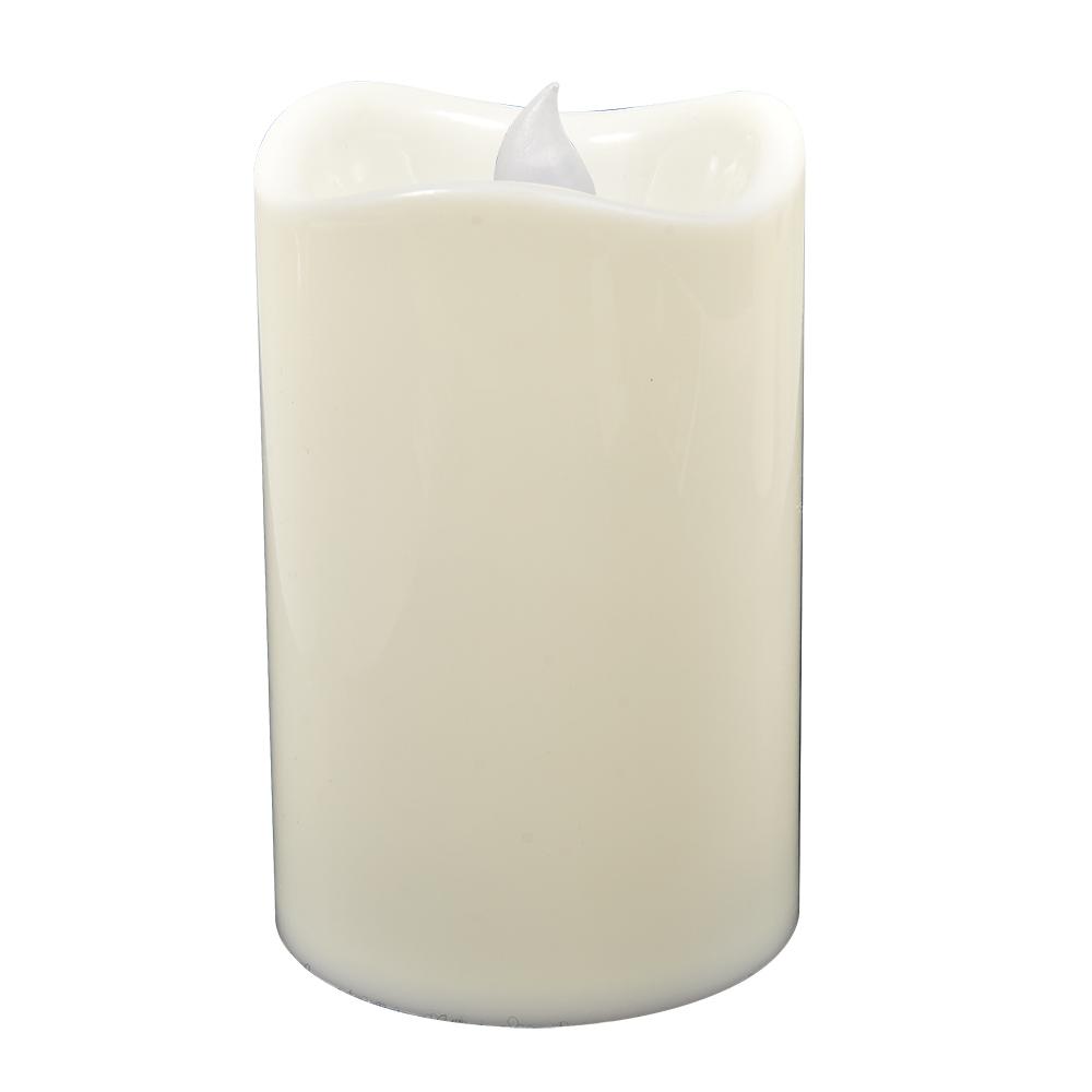 Свеча светодиодная Vegas Классика, 7,5 х 11,5 см55051Светодиодная свеча Vegas Классика выполнена из высококачественного пластика. Особенностью свечи является наличие светодиодного устройства, благодаря которому она светится. Светодиод расположен внутри корпуса, при включении свеча наполняется мягким светом. Приятный мерцающий свет создаст романтическое настроение. Из-за использования светодиодного устройства отсутствует риск возгорания, свеча экологична, не оставляет восковых пятен, не выделяет запаха. Цвет свечения: янтарный.Режим свечения: мерцание.Мощность: 0,5 W.Влагостойкость IP 20.Свеча работает от 3 батареек ААА, напряжением 3 V. Батарейки в комплект не входят.Диаметр свечи: 7,5 см.Высота свечи: 11,5 см.