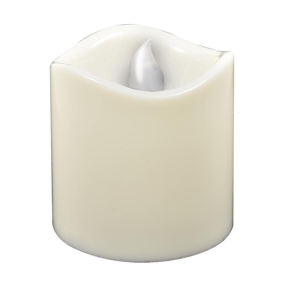 Свеча светодиодная Vegas Классика, 7,5 х 7,5 см, свет: янтарный. 5505055050Свеча светодиодная Vegas Классика создаст праздничную атмосферу. Светодиодная свеча полностью имитирует восковую и создает эффект реального пламени. Абсолютно безопасна для любых помещений. Не имеет неприятного запаха, не оставляет следов. Имеет большой срок службы. Включается с помощью тумблера снизу. Цвет свечения: янтарный. Режим свечения: мерцание.