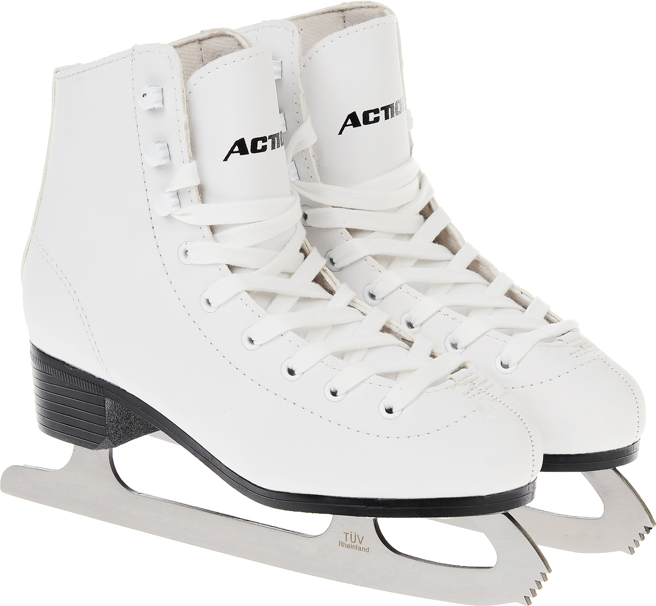 Коньки фигурные женские Action Sporting Goods, цвет: белый. PW-215. Размер 41PW-215_белый_41Высокий классический ботинок идеально подойдет для любительского катания. Модель снабжена системой быстрой шнуровки и поддержкой голеностопа. Верх ботинка выполнен из высококачественной искусственной кожи, подошва - твердый пластик.Лезвие изготовлено из нержавеющей стали со специальным покрытием, придающим дополнительную прочность.