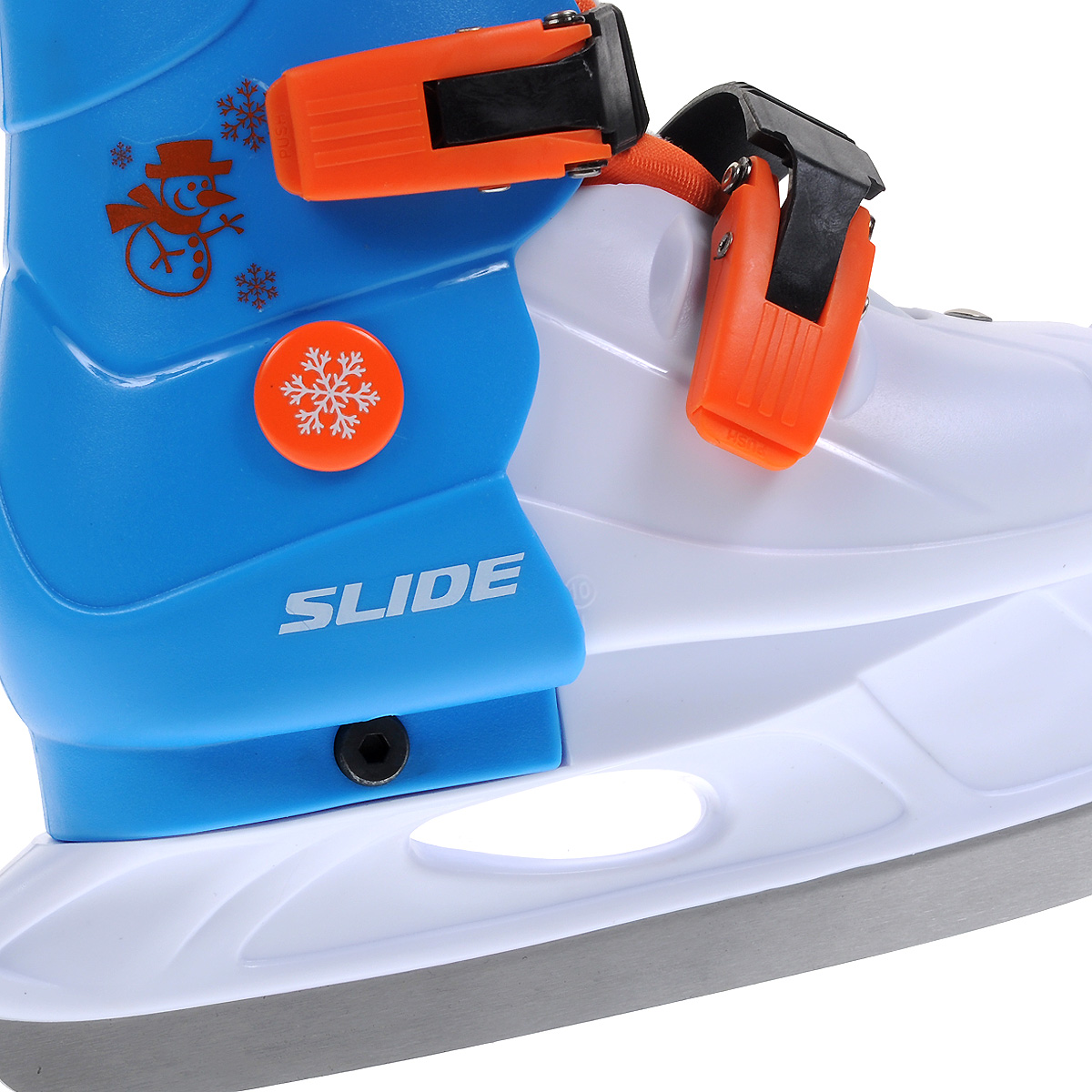 Коньки ледовые детские Larsen Slide, раздвижные, цвет:  белый, голубой, оранжевый.  Размер M (33/36) Larsen