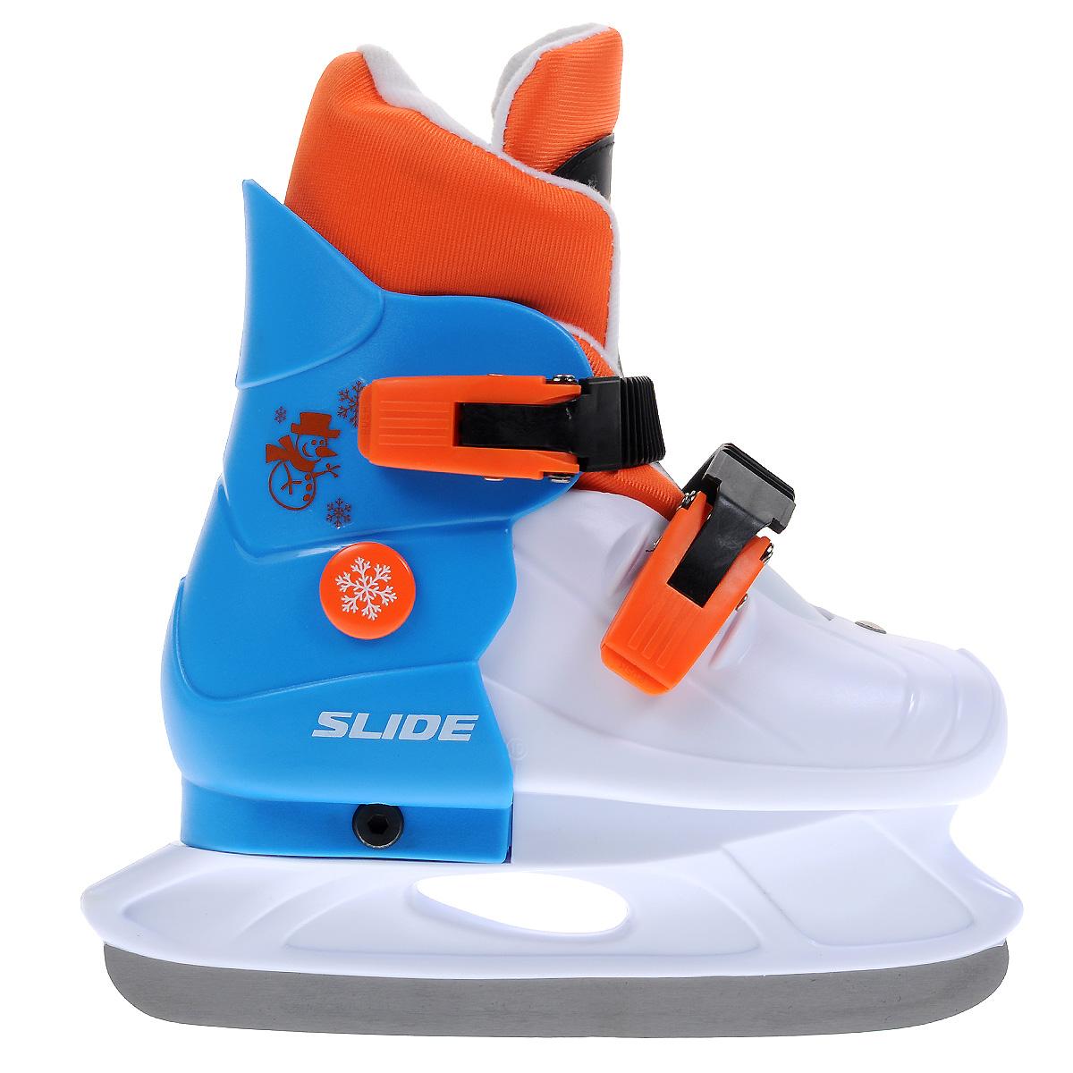 Коньки ледовые детские Larsen Slide, раздвижные, цвет: белый, голубой, оранжевый. Размер S (29/32)