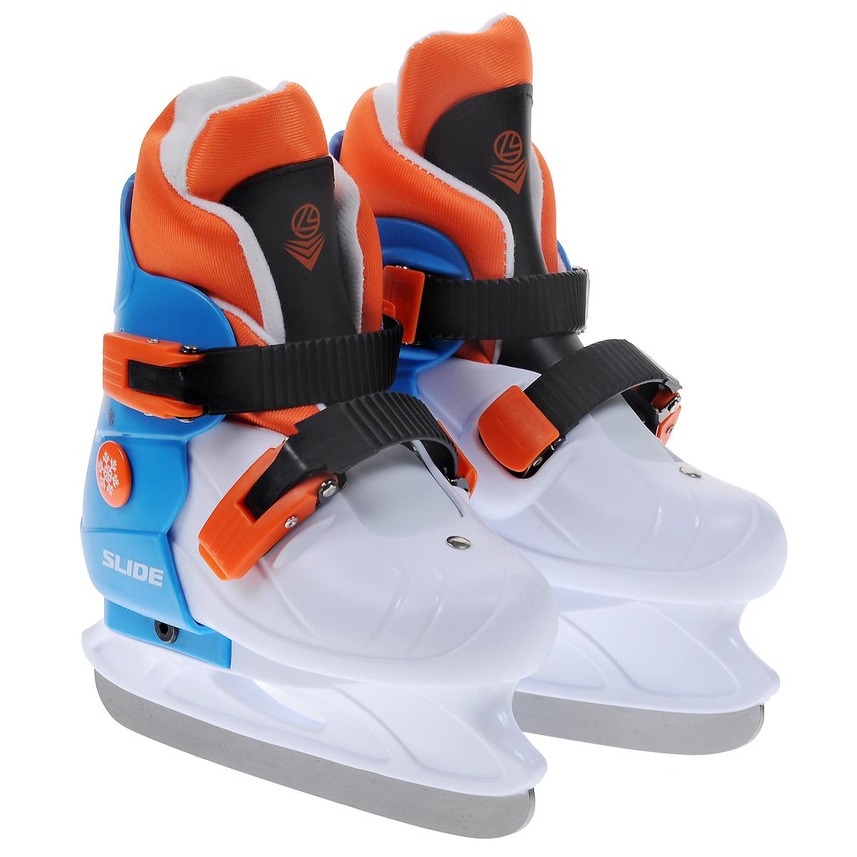 Коньки ледовые детские Larsen Slide, раздвижные, цвет: белый, голубой, оранжевый. Размер S (29/32)SlideДетские ледовые коньки Slide от Larsen отлично подойдут для начинающих обучаться катанию. Ботинки изготовлены из морозостойкого полипропилена, который защитит ноги от ударов. Пластиковые регулируемые бакли надежно фиксируют голеностоп. Внутренний сапожок выполнен из мягкого текстильного материала с поролоновой вставкой, который обеспечит тепло и комфорт во время катания.Лезвие выполнено из нержавеющей стали.Особенностью коньков является раздвижная конструкция, которая позволяет увеличивать размер ботинка по мере роста ноги ребенка. У сапожка пяточная часть крепится при помощи липучек, что также позволит увеличить размер.Температура использования: до -20°С.
