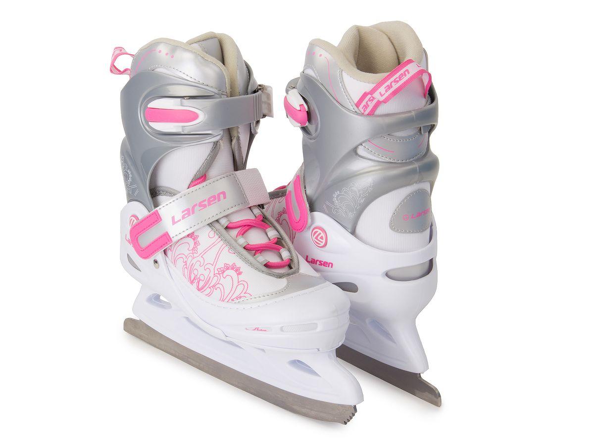 Коньки ледовые детские Larsen Liberty, раздвижные, цвет: серый, белый, розовый. Размер XS (26/29)