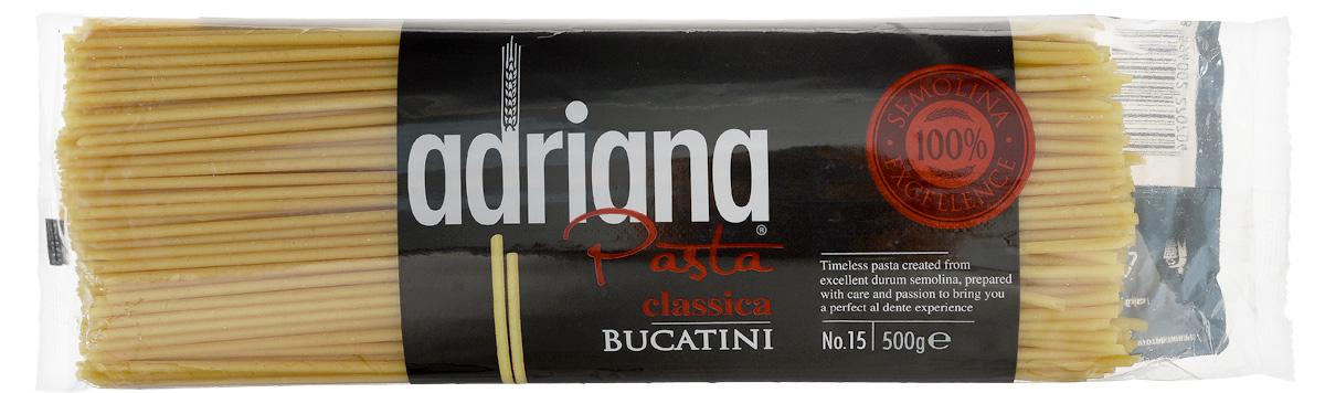Adriana Bucatini паста, 500 г15015Adriana - высококачественная паста из 100% семолины. Только 100% семолина или качественная мука из специальных твердых сортов пшеницы гарантирует, что паста, даже после превышения рекомендуемого времени приготовления, не разварится и не слипнется после охлаждения. Bucatini или, как принято их называть в России, макароны. Благодаря отверстиям в середине макарон, вас ждет исключительное вкусовое наслаждение. Соус попадает внутрь макаронных изделий именно в процессе приготовления. Они так великолепны в легком сочетании с любым соусом, в том числе и с низким содержанием жира.