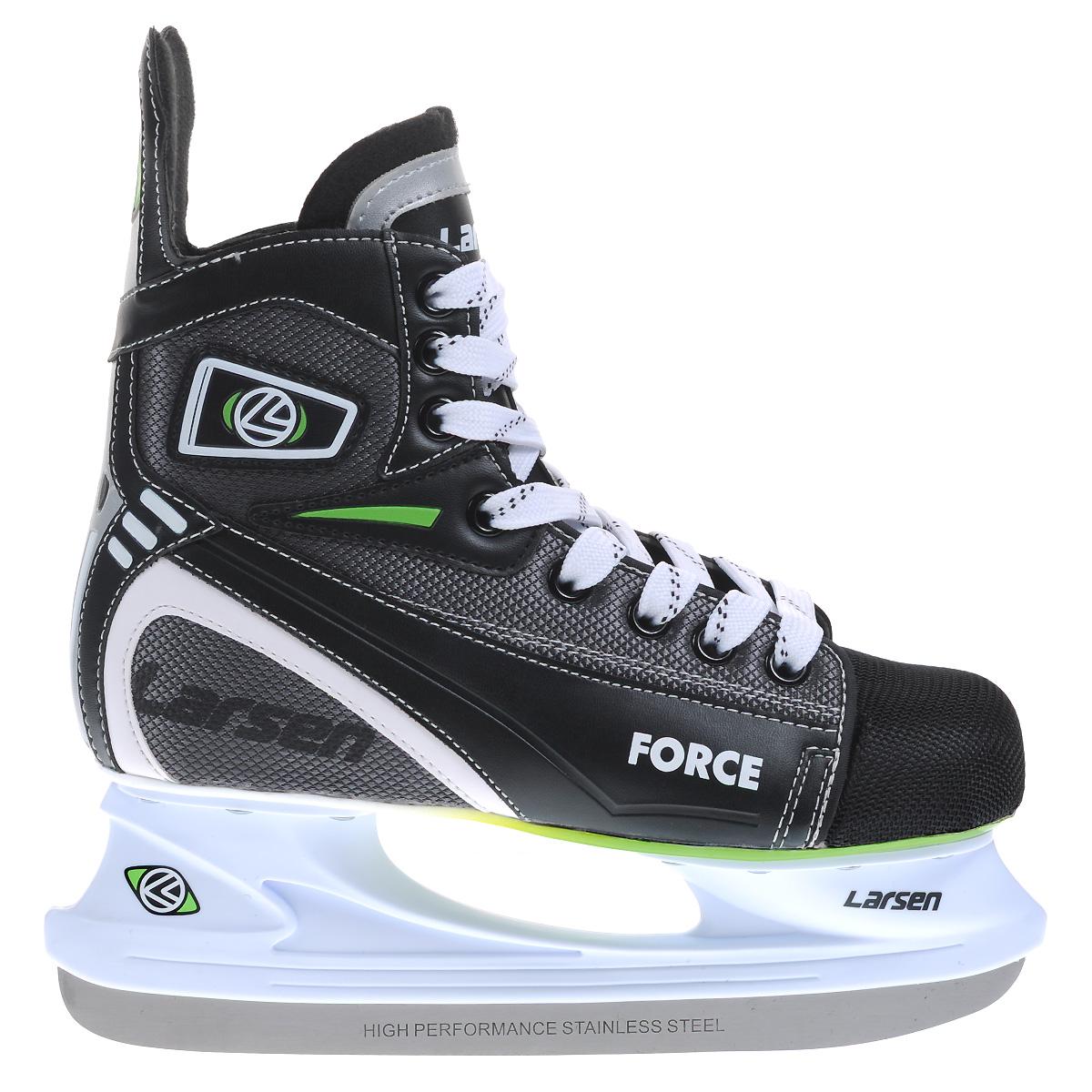 Коньки хоккейные Larsen Force, цвет: черный, серый. Размер 40